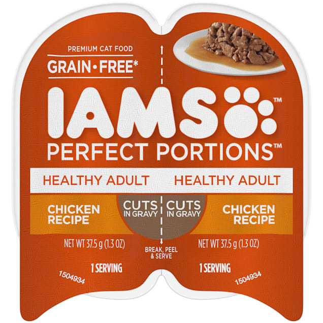 Iams Perfect Portions Grain Free Chicken Recipe Cuts in Gravy Adult Wet Cat Food, 2.64 oz., Case of 24 - Carousel image #1
