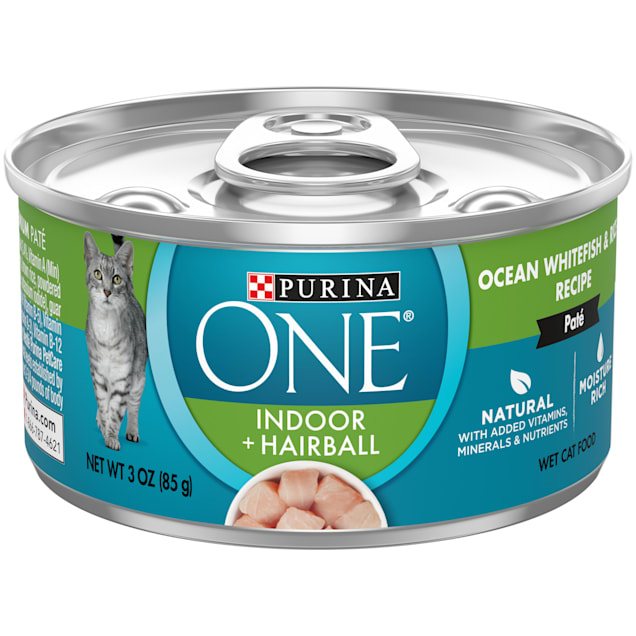 Purina ONE Indoor High Protein Indoor Advantage Ocean Whitefish & Rice Pate Wet Cat Food, 3 oz., Case of 12 - Carousel image #1