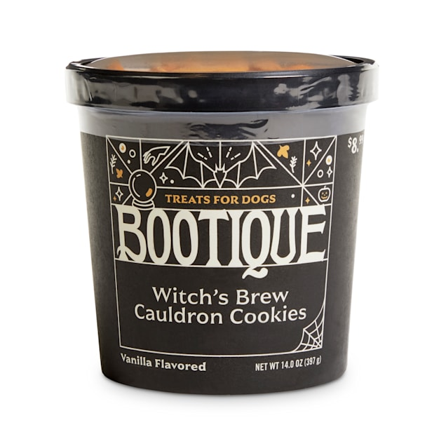 Bootique Witch's Brew Cauldron Cookies Carob & Vanilla-Flavored Halloween Dog Treats, 14 oz. - Carousel image #1