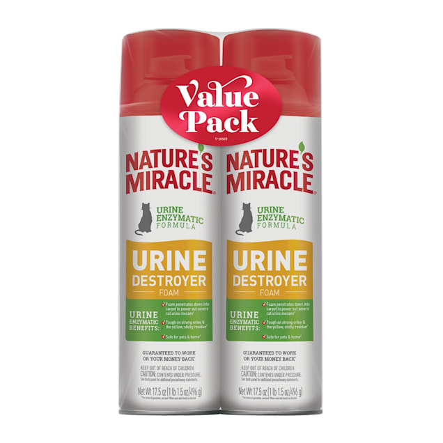 Nature's Miracle Urine Destroyer Foam for Cats, 17.5 fl. oz., Twin Pack - Carousel image #1