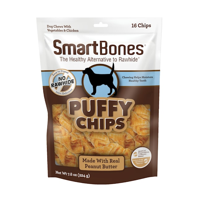 SmartBones Puffy Chips With Peanut Butter Dog Treats, Count of 16 - Carousel image #1