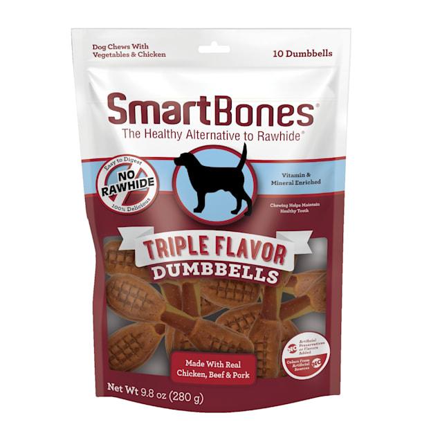 SmartBones Triple Flavor Dumbbells Dog Treats, Count of 10 - Carousel image #1