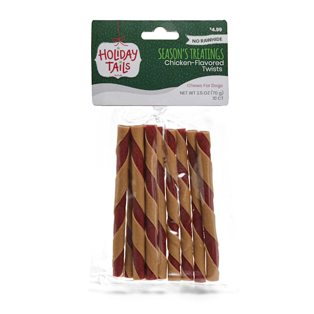 Holiday Tails Season's Treatings No-Rawhide Chicken-Flavored Twists Dog Chews, 2.5 oz., Count of 10 - Carousel image #1