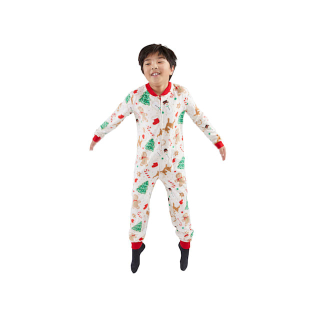 Holiday Tails Home For Christmas Multicolor Novelty Print Match-Your-Pet Kids' Pajamas, Small/Medium - Carousel image #1