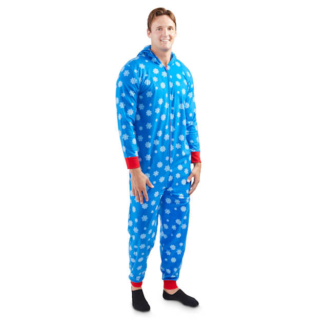 Holiday Tails The First Snowflake Blue Match-Your-Pet Adult Pajamas, Small/Medium - Carousel image #1