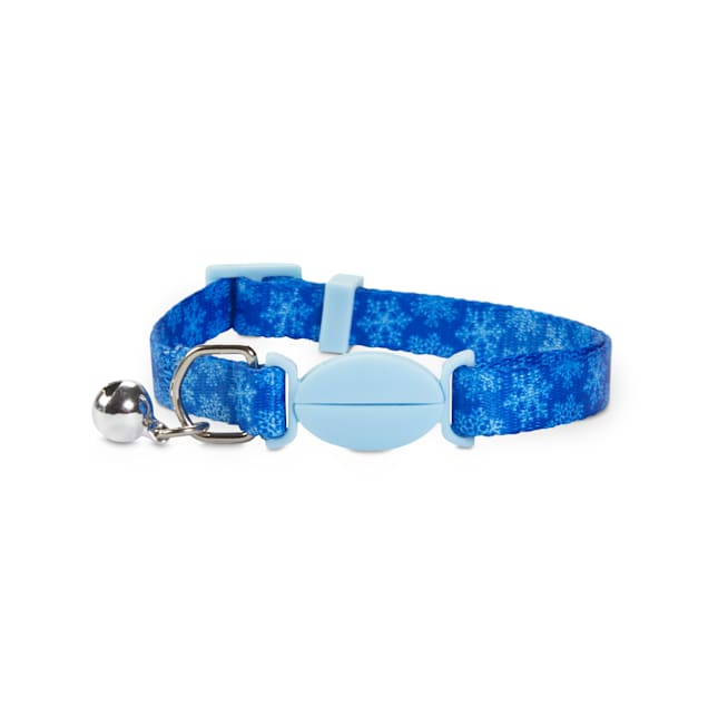 Holiday Tails First Snowflake Blue Breakaway Cat Collar with Removable Bell - Carousel image #1