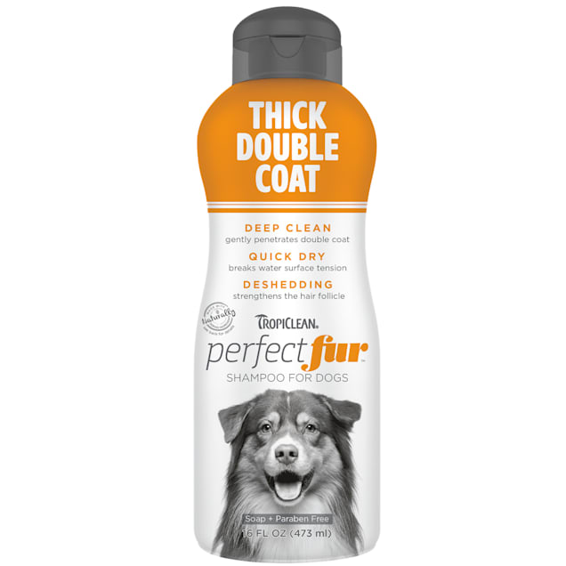 TropiClean Perfect Fur Thick Double Coat Dog Shampoo, 16 fl. oz. - Carousel image #1