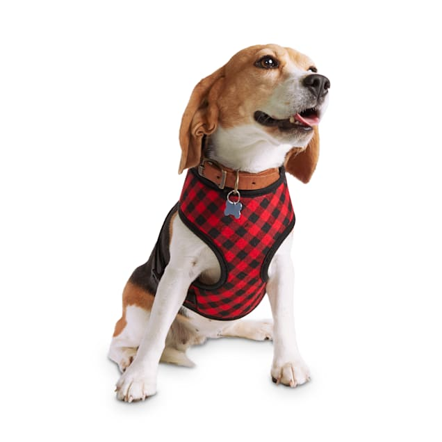 Holiday Tails Winter Vacation Red Buffalo Check Dog Harness, X-Small - Carousel image #1