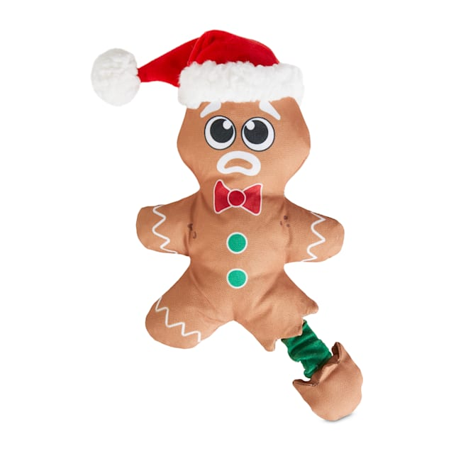 Holiday Tails Gingerbread Tales Plush Bungee Dog Toy with Squeaker & Crinkle, Large - Carousel image #1