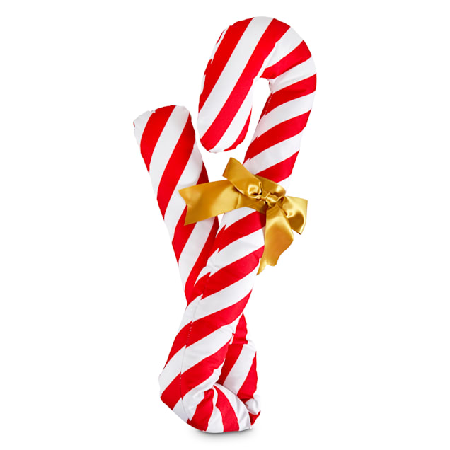 Holiday Tails Candy Cane Lane Plush Dog Toy with Squeaker, X-Large - Carousel image #1