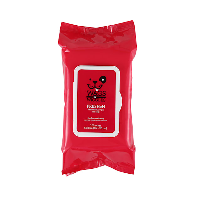 Wags & Wiggles Fresh Strawberry Deodorizing Dog Wipes, Count of 100 - Carousel image #1