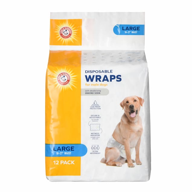 Arm & Hammer Large Disposable Male Wraps for Dogs, Pack of 12 - Carousel image #1