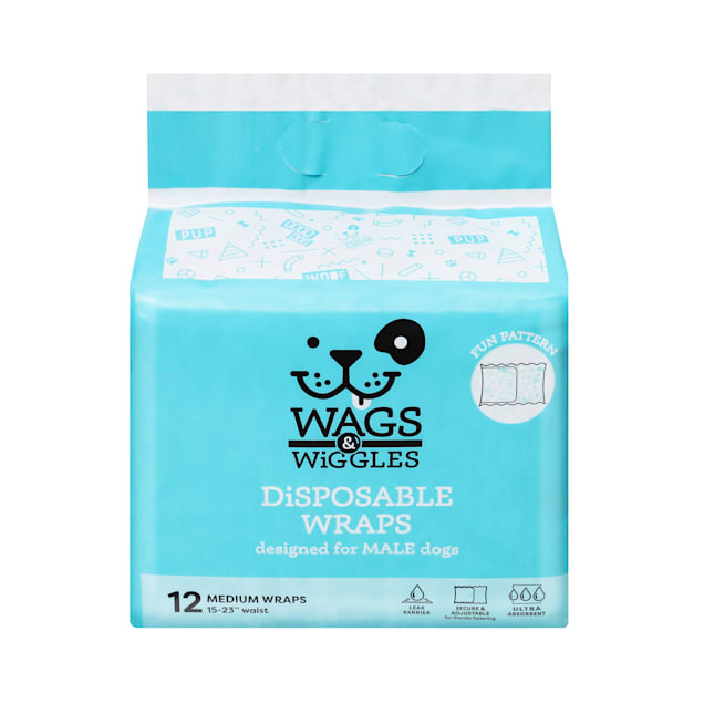 Wags & Wiggles Medium Disposable Wraps for Male Dogs, Pack of 12 - Carousel image #1