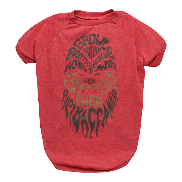 Fetch for Pets Red Chewbacca Growl Dog T-Shirt, Small - Carousel image #1