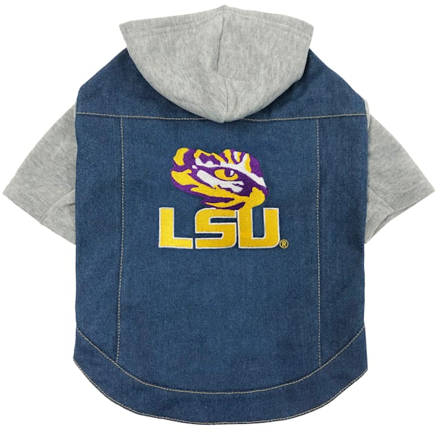 Pets First Louisiana State Denim Hoodie for Dogs, Medium - Carousel image #1