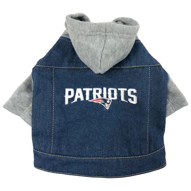 Pets First New England Patriots Denim Hoodie for Dogs, X-Small - Carousel image #1