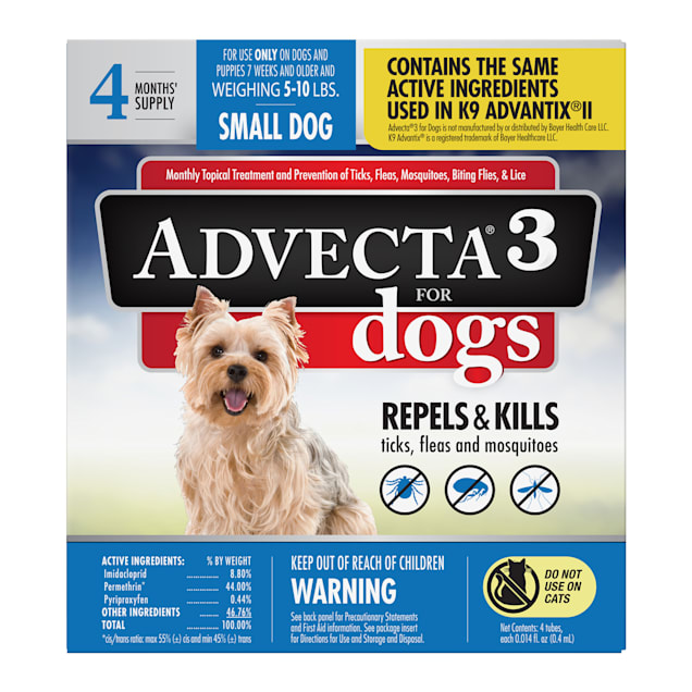 Advecta Ultra Flea and Tick Treatment for Small Dogs, Count of 4 - Carousel image #1