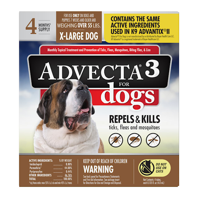Advecta Ultra Flea and Tick Treatment for X-Large Dogs, Count of 4 - Carousel image #1