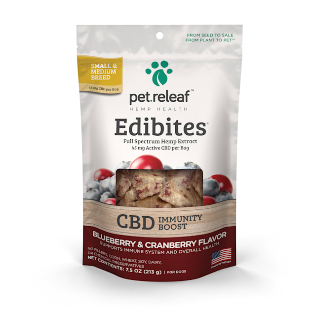 Pet Releaf Edibites Immunity Blueberry & Cranberry Crunchy Supplement for Small & Medium Breed Dogs, 7.5 oz., Count of 30 - Carousel image #1