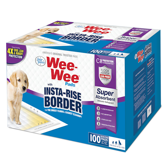 Four Paws Wee-Wee Pads with Insta-Rise Border Dog Pee Pads, Count of 100 - Carousel image #1