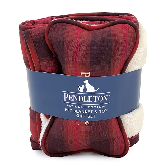 Pendleton Red Ombre Plaid Pet Throw and Bone Combo Set - Carousel image #1