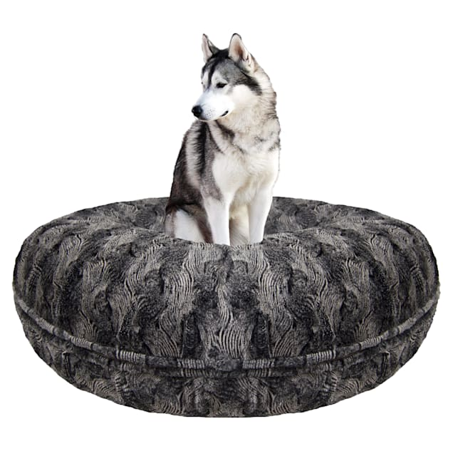 """Bessie and Barnie Signature Arctic Seal Luxury Extra Plush Faux Fur Bagel Dog Bed, 24"""" L X 24"""" W - Carousel image #1"""