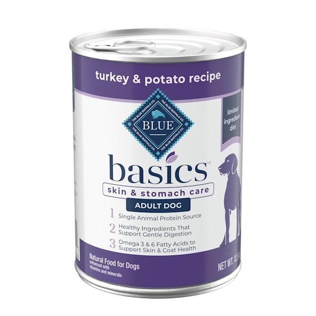 Blue Buffalo Blue Basics Grain-Free Turkey & Potato Recipe Wet Dog Food, 12.5 oz., Case of 12 - Carousel image #1