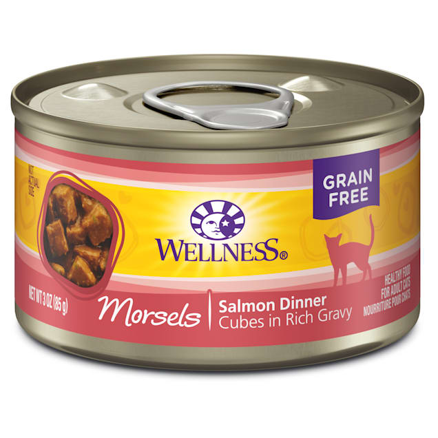 Wellness Natural Canned Grain Free Morsels Salmon Dinner Wet Cat Food, 3 oz., Case of 24 - Carousel image #1