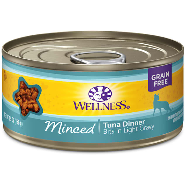 Wellness Natural Canned Grain Free Minced Tuna Dinner Wet Cat Food, 5.5 oz., Case of 24 - Carousel image #1