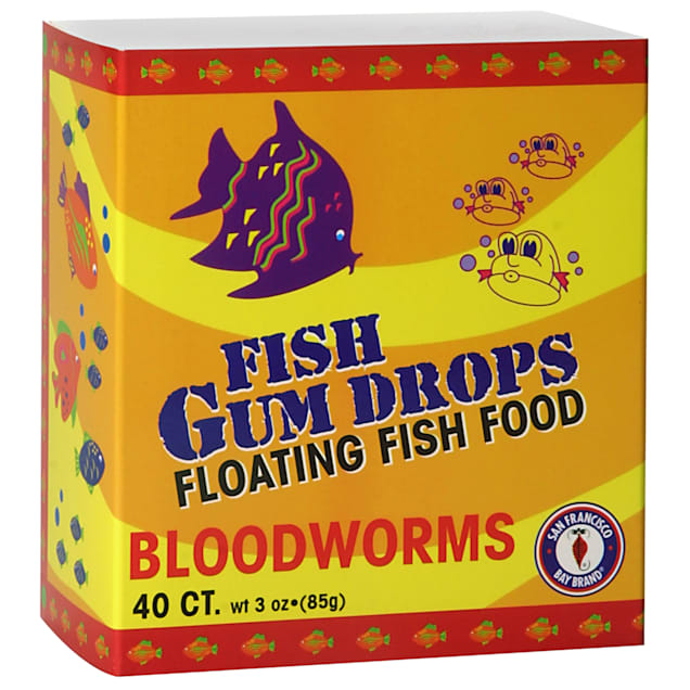 San Francisco Bay Brand Frozen Gumdrops Floating Fish Food Bloodworms, 3 oz., Count of 40 - Carousel image #1