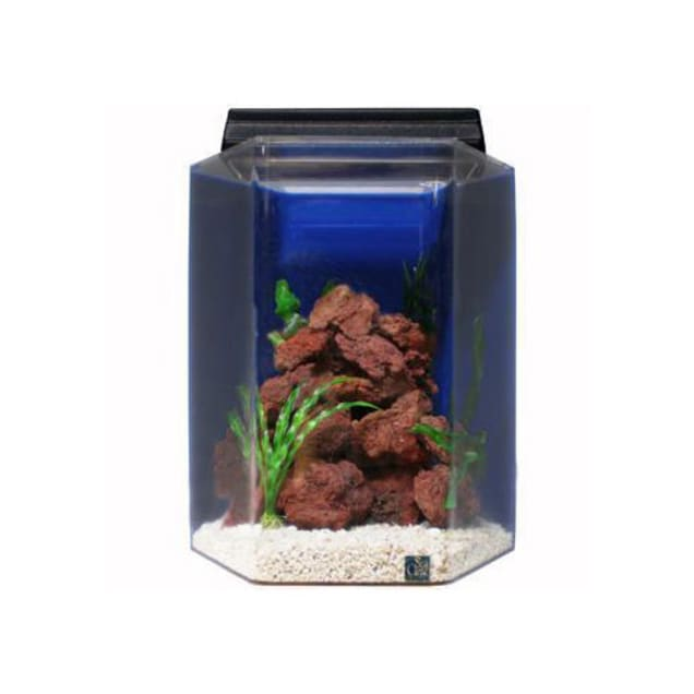SeaClear 15 Gallon Deluxe Hexagon Aquarium Combo, Cobalt Blue - Carousel image #1
