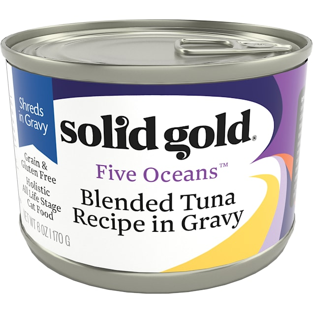 Solid Gold Five Oceans Tuna in Gravy Grain Free Canned Cat Food, 6 oz., Case of 8 - Carousel image #1