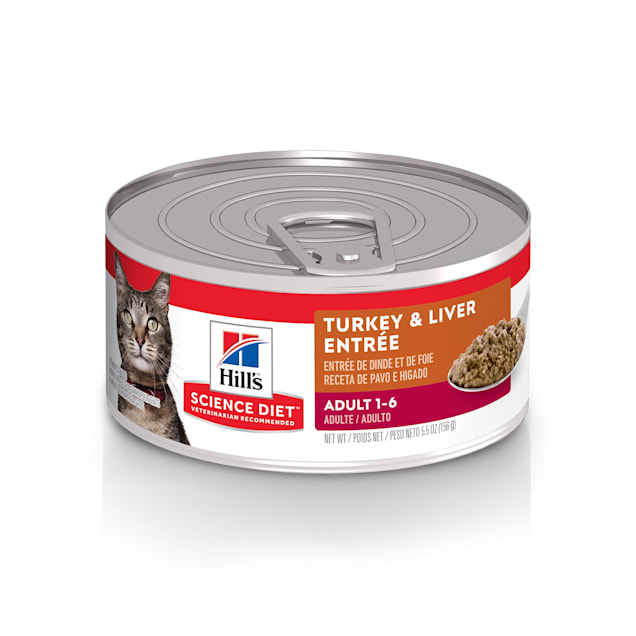Hill's Science Diet Adult Turkey & Liver Entree Canned Cat Food, 5.5 oz., Case of 24 - Carousel image #1