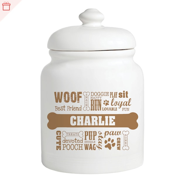 Custom Personalization Solutions Personalized Dog Words Treat Jar Brown - Carousel image #1