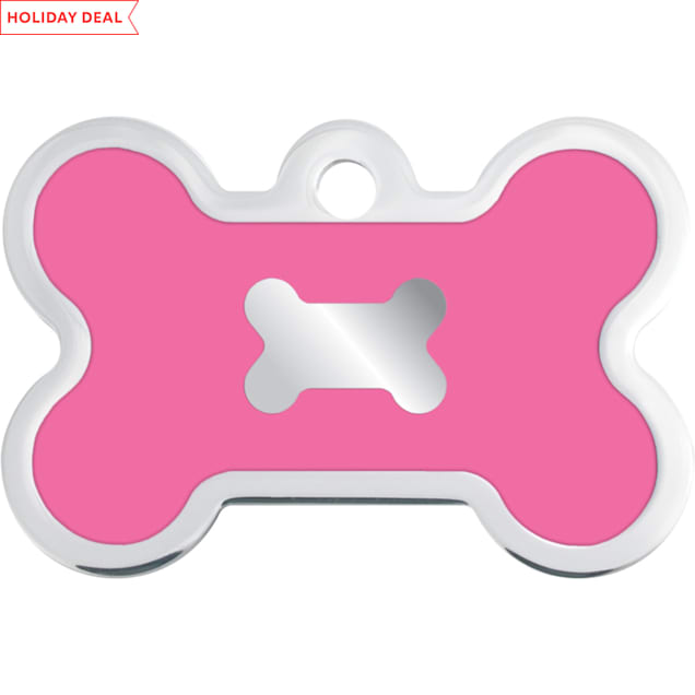 Quick-Tag Large Pink Epoxy Chrome Bone Personalized Engraved Pet ID Tag - Carousel image #1