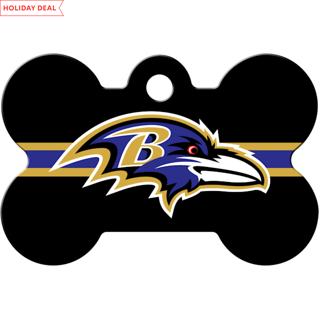 Quick-Tag Baltimore Ravens NFL Bone Personalized Engraved Pet ID Tag, Large - Carousel image #1