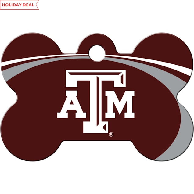 Quick-Tag Texas A&M Aggies NCAA Bone Personalized Engraved Pet ID Tag - Carousel image #1