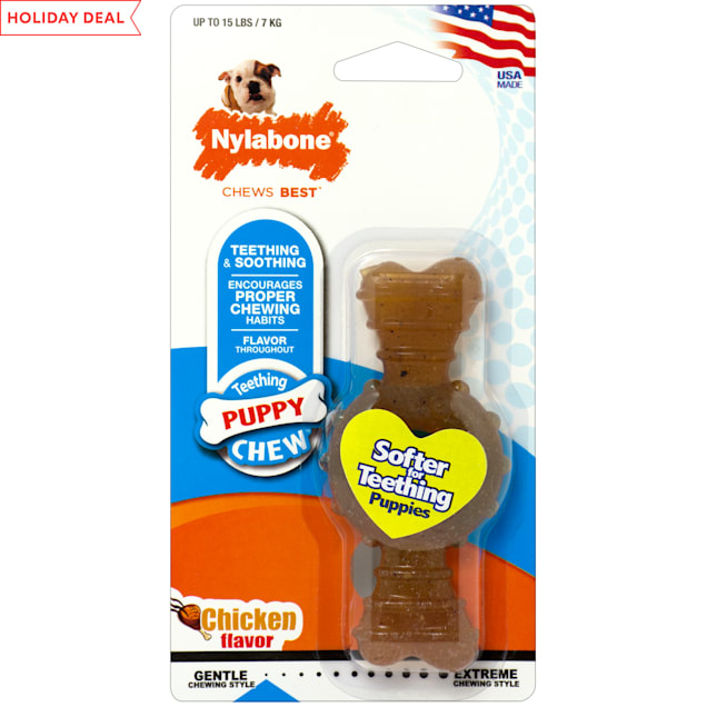 Nylabone Puppy Chew Chicken Flavored Dog Chew, Small - Carousel image #1