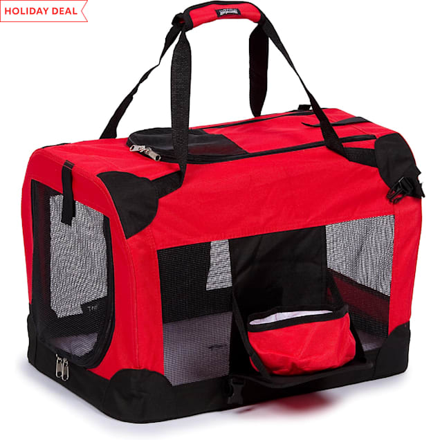 "Pet Life Folding Deluxe 360 Vista View House Carrier in Red, 23"" L X 16"" W X 16"" H - Carousel image #1"