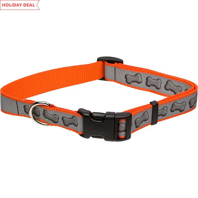 "Coastal Pet Lazer Brite Personalized Reflective Dog Collar in Orange with Bones, 1"" Width - Carousel image #1"