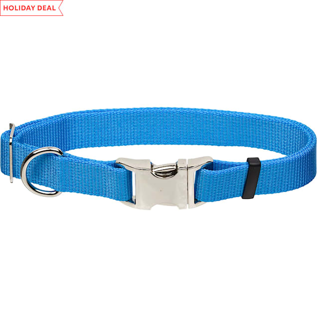 "Coastal Pet Metal Buckle Nylon Adjustable Personalized Dog Collar in Light Blue, 1"" Width - Carousel image #1"