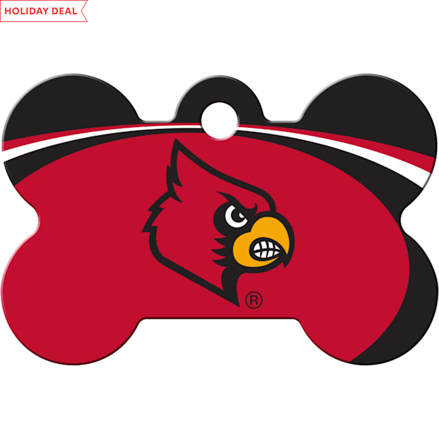 """Quick-Tag Louisville Cardinals NCAA Bone Personalized Engraved Pet ID Tag, 1 1/2"""" W X 1"""" H - Carousel image #1"""