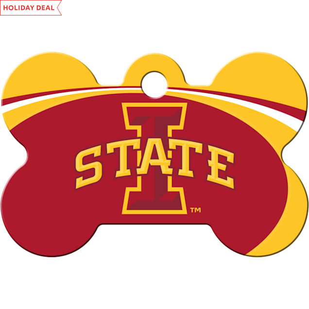 """Quick-Tag Iowa State NCAA Bone Personalized Engraved Pet ID Tag, 1 1/2"""" W X 1"""" H - Carousel image #1"""