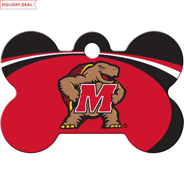 "Quick-Tag University of Maryland NCAA Bone Personalized Engraved Pet ID Tag, 1 1/2"" W X 1"" H - Carousel image #1"