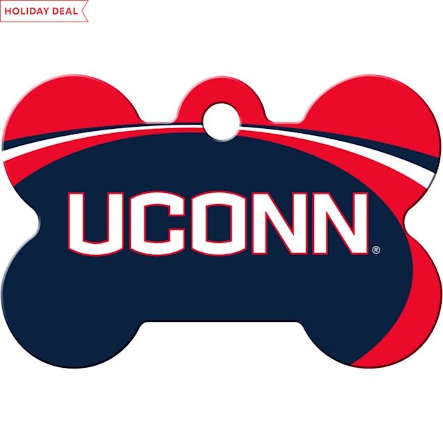"""Quick-Tag UConn Huskies NCAA Bone Personalized Engraved Pet ID Tag, 1 1/2"""" W X 1"""" H - Carousel image #1"""