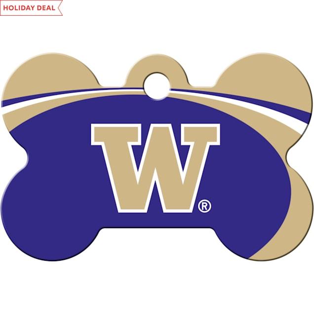 "Quick-Tag University of Washington NCAA Bone Personalized Engraved Pet ID Tag, 1 1/2"" W X 1"" H - Carousel image #1"
