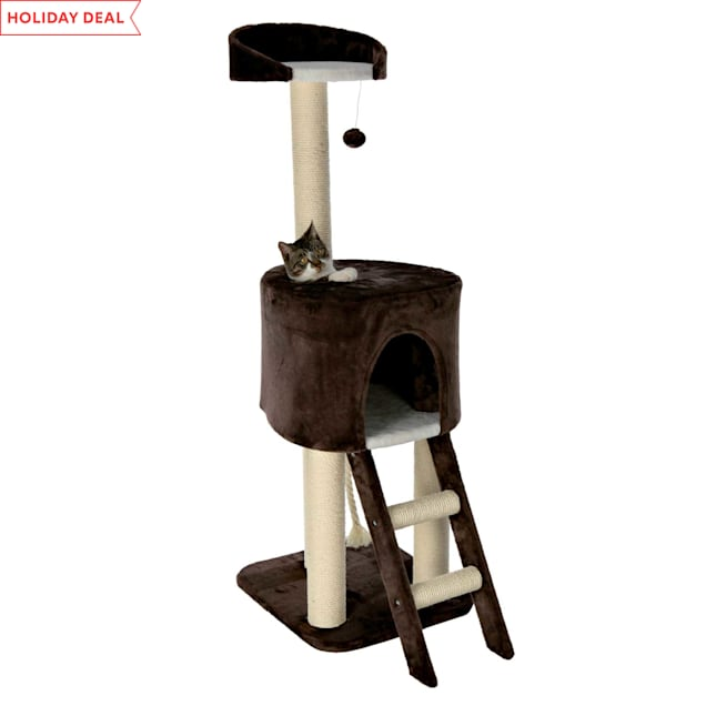"Trixie Rolanda Cat Tree in Chocolate Brown & White, 51"" - Carousel image #1"