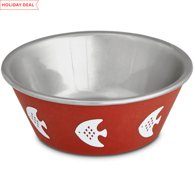 Harmony Red Fish Stainless Steel Cat Bowl, 1 c. - Carousel image #1