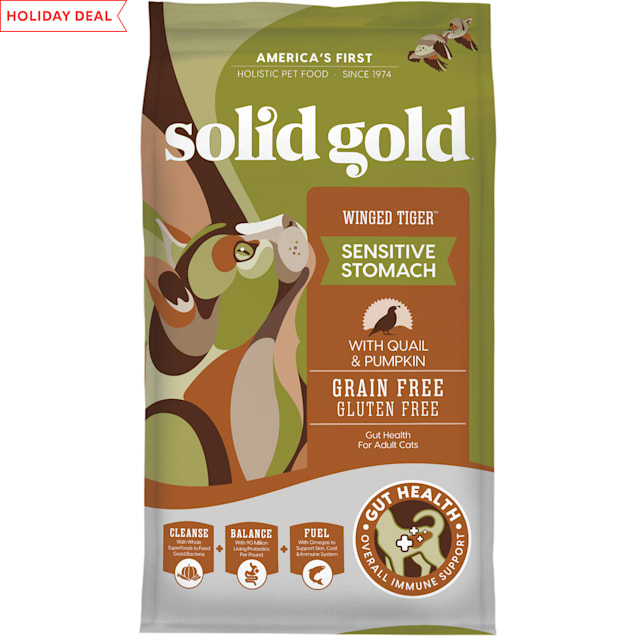 Solid Gold Winged Tiger Quail & Pumpkin Holistic Grain Free Dry Adult Cat Food With Superfoods, 6 lbs. - Carousel image #1