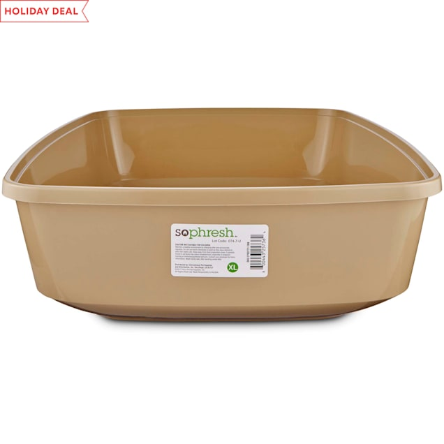 So Phresh Warm Taupe Open Cat Litter Box, X-Large - Carousel image #1
